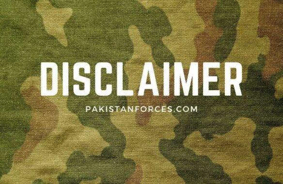 Pakistan Forces Disclaimer