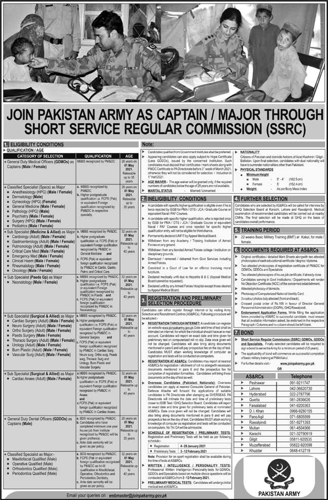 Advertisement to Join Pak  Army as captain / major through short service commissioned officer