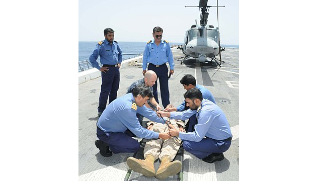 Pakistan Navy medical specialists conducting medical training while abroad on sea mission